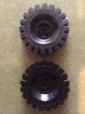 Lego 2x Lot of Black Vintage Technic 17x43 Tires Wheels 6941 6950 6952