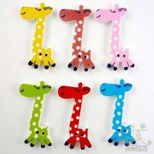 10pcs Mixed Color Giraffe Wood Button/Flatback Lot 40x19MM Craft Sewing Card Kid