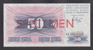 BOSNIA 50 Dinara 1992  UNC  P12s  SPECIMEN banknote / Combined postage