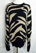 Forever 21 Sweater Zebra Stripe Animal Print Black Taupe Long Sleeve size Small
