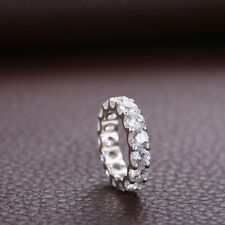 Engagement Gift 6.9CT Cubic Zirconia Round 4mm Band Solid 10K White Gold Ring
