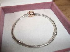 Genuine Authentic Pandora Silver & Rose Gold Barrel Clasp Bracelet 580702 - 17cm