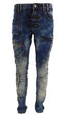 Mens Black Rock Slim Fit Ripped Jeans Stretch Biker Detail Denim Pants Trouser