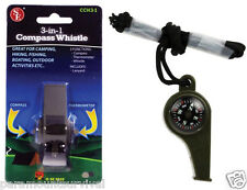 3-IN-1 Emergency Survival Whistle Compass Fahrenheit Thermometer Lanyard CCH3-1
