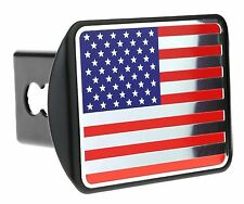 """USA US American Color Flag Metal Emblem on Metal Trailer Hitch Cover Fits 2"""" ..."""