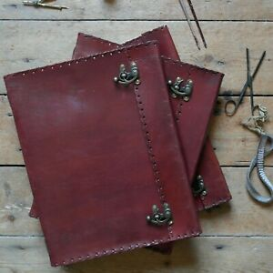 """13"""" Leather Handmade Vintage Sketchbook Scrapbook Diary Journal Double Clasps"""