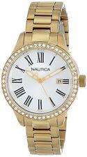 Nautica Women's Gold Round Roman Numeral Swarovski Crystal Watch Date N16661M