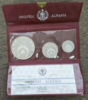 1968 Albania Proof 3 Silver Coin Set in Original Wallet with COA