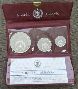 1968 Albania Proof 3 Silver Coin Set in Original Wallet with COA