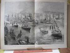 Vintage Print,NAVAL REVIEW,Harpers,c1890s,Schell,Marine