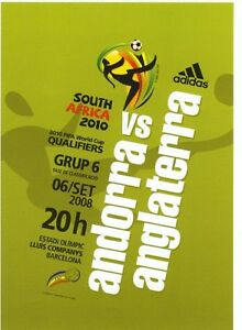 ANDORRA v England (World Cup Qualifier in Barcelona) 2008 - Official programme