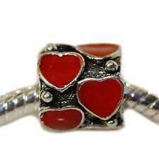 Red Enamel Hearts Charm Bead