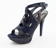 $168 NEW Guess by Marciano Crissy Black Satin Sandals 8.5 Evening Shoes NIB