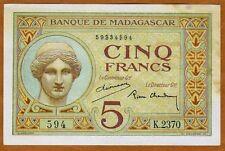Madagascar, 5 Francs (1937), P-35, (594)
