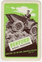 Playing Cards Single Card Old BENFORD Diesel DUMPERS Construction Advertising 3
