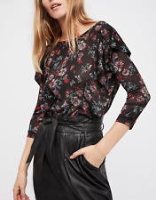 FREE PEOPLE WOMEN'S BLACK FLORAL PRINT RUFFLE ACCENTS DOCK STREET TOP Sz S