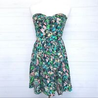 Zara Woman floral Strapless Open Back Dress sz L
