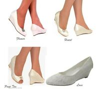 New Ladies Ivory  Bridal Wedding Low Heel Satin Lace Wedge Court Peep Toe Shoes