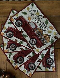 6 pc Vintage Truck Fall Kitchen Decor Set - Hello Fall - Matching Fall Placemats