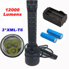 Diving Flashlight Torch 12000lumens 3xCREE XML-T6 Underwater 200 Meter Diving