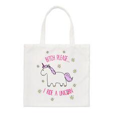 Lila Bitch si prega di un unicorno I Ride Small Tote Bag-Divertente shopper spalla