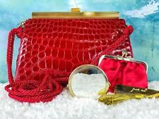 $1600 JUDITH LEIBER Red Crocodile Leather Tassel Evening Bag Clutch SALE NEW!
