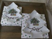 2 RUSS BERRIE & CO Fine Porc China Christmas Tree Shaped candy dishes gold trim