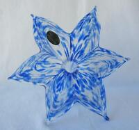 "8"" Italian Art Blown Glass Flower Murano Blue 6 Leaf Italy 460 Mother's Day Gift"