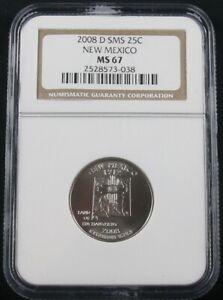 2008 D SMS (SATIN) NEW MEXICO QUARTER NGC MS 67