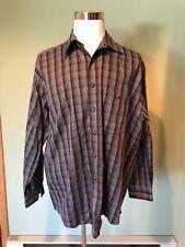 Paul Fredrick Men's Long Sleeve Button Down Black Plaid Shirt size XL