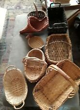 Vintage Lot of 14 Various Sizes,Colors Shapes Wicker Rattan Baskets Wall-Table