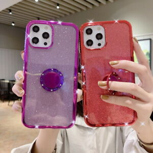 Diamond Bling Ring Stand Silicone Case Cover For iPhone 13 12 Pro Max 11 XS XR 8