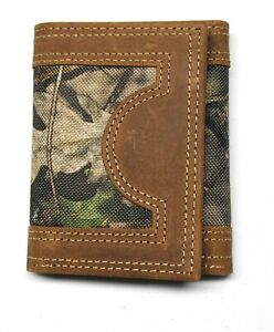 Mossy Oak Camo Trifold Wallet - Leather & Nylon with Box