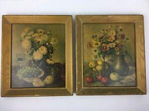 Set of 2 Vintage Hank Bog Still Life Prints (Ga ) Framed 10X12 Wall Art