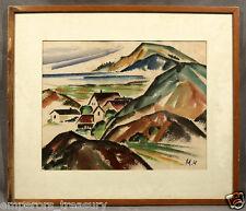 Signed Marsden Hartley (AMERICAN 1877-1943) Work on Paper, Mountainous Landscape