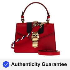 Gucci Cuero señoras Sylvie Mini Bolso para el hombro en rojo 470270 D4ZAG 8457