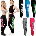 Women's JUST DO IT LATER Slogan Girls Gym Sports Skinny Leggings Trousers Pants