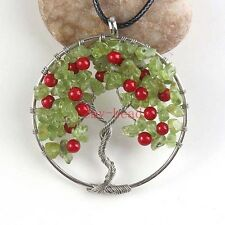 Natural Peridot Stone Tree Of Life Chakra Winding Pendant Leather Chain Necklace