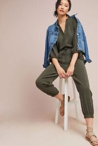NWT Anthropologie Velvet by Graham & Spencer Green Utility One Piece Jumpsuit XL