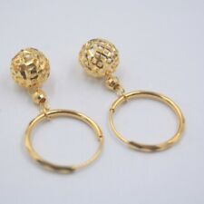 Real 18K Yellow Gold Earrings Woman's Hollow Ball Earrings Hook 30mmH New Gift