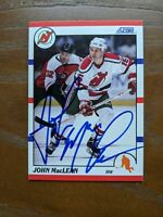 JOHN MacLEAN 1990-91 Score #190 autographed card NEW JERSEY DEVILS STARS SHARKS