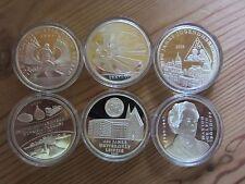 6x Gedenkprägungen 2009 zu den 10 Euro-Münzen, vollst. Jahressatz,silberveredelt