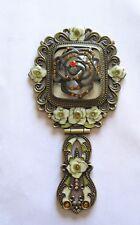 Hand Held Folding Cosmetic MIRROR- Antique Look-Flowers- Enamel- Great Detail