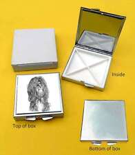 Tibetan Terrier Dog Polished Metal Square Pill Box Gift with 4 Compartments
