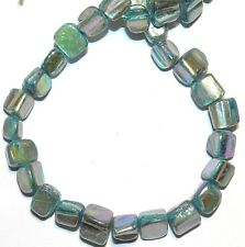 MP1746 Blue AB Medium 8mm - 10mm Tri-Tip Nugget Mother Of Pearl Shell Beads 15""