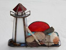 VINTAGE HANDMADE STAINED GLASS CARDHOLDER (LIGHTHOUSE)
