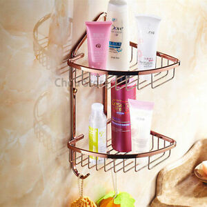 Rose Gold Bathroom Wall Double Layer Corner Basket Shelf Bath Shampoo Storage