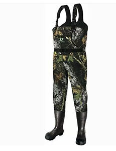 Camo Neoprene Hunting Waders for Men and Women with Rubber Boots, Size 11