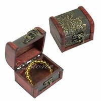 Vintage Jewelry Pearl Necklace Bracelet Gift Box Storage Organizer Wood Case New