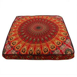 """New Multi Peacock Mandala 35"""" Square Floor Pillow Case Indian Cushion Bed Covers"""